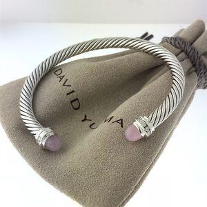 David Yurman Rose Quartz Diamond 5mm Bracelet